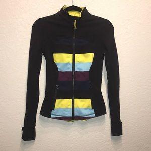 Lululemon define jacket stripe black blue size 4